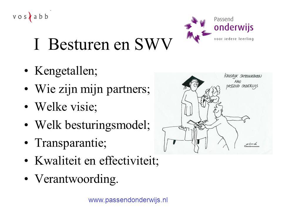 I Besturen en SWV Kengetallen; Wie zijn mijn partners; Welke visie; Welk besturingsmodel; Transparantie; Kwaliteit en effectiviteit; Verantwoording.