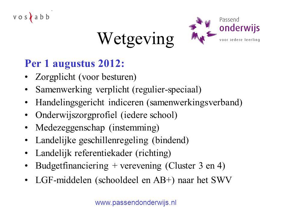 Wetgeving Per 1 augustus 2012: Zorgplicht (voor besturen) Samenwerking verplicht (regulier-speciaal) Handelingsgericht indiceren (samenwerkingsverband) Onderwijszorgprofiel (iedere school) Medezeggenschap (instemming) Landelijke geschillenregeling (bindend) Landelijk referentiekader (richting) Budgetfinanciering + verevening (Cluster 3 en 4) LGF-middelen (schooldeel en AB+) naar het SWV www.passendonderwijs.nl