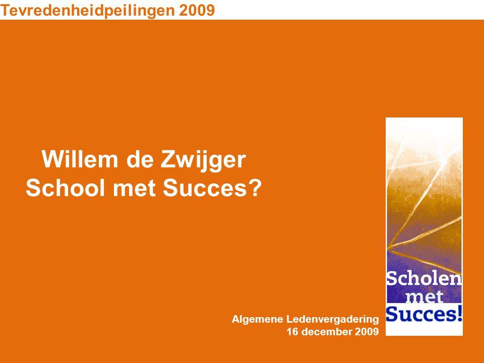 Willem de Zwijger School met Succes? Tevredenheidpeilingen 2009 Algemene Ledenvergadering 16 december 2009
