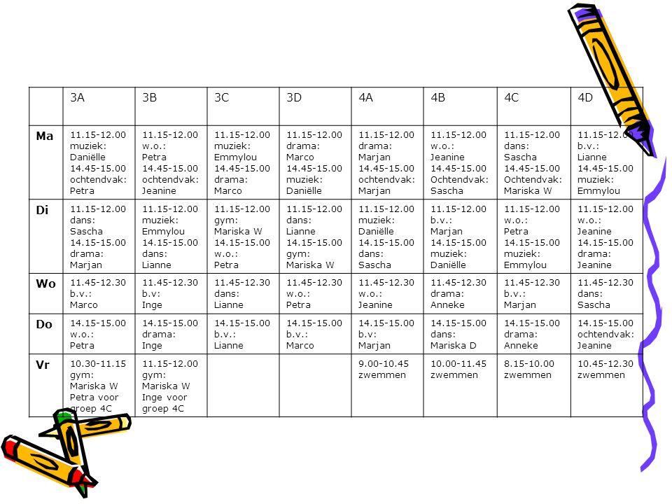 3A3B3C3D4A4B4C4D Ma 11.15-12.00 muziek: Daniëlle 14.45-15.00 ochtendvak: Petra 11.15-12.00 w.o.: Petra 14.45-15.00 ochtendvak: Jeanine 11.15-12.00 muz