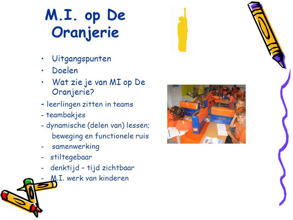 M.I. op De Oranjerie Uitgangspunten Doelen Wat zie je van MI op De Oranjerie? - leerlingen zitten in teams - teambakjes - dynamische (delen van) lesse