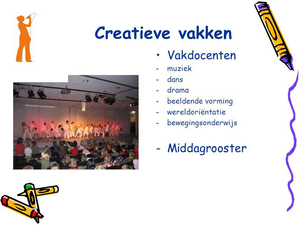 Creatieve vakken Vakdocenten -muziek -dans -drama -beeldende vorming -wereldoriëntatie -bewegingsonderwijs -Middagrooster