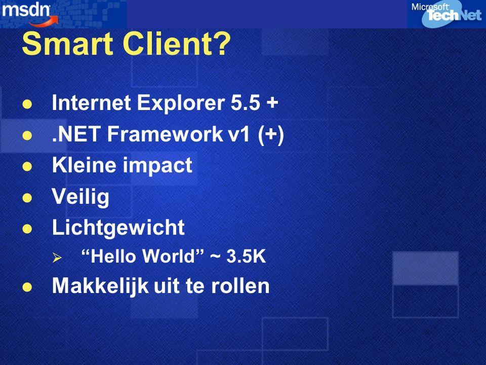 "Smart Client? Internet Explorer 5.5 +.NET Framework v1 (+) Kleine impact Veilig Lichtgewicht  ""Hello World"" ~ 3.5K Makkelijk uit te rollen"