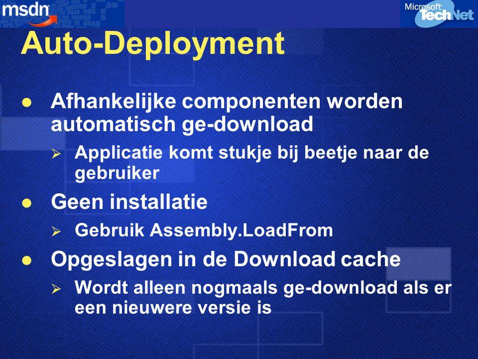 Auto-Deployment Afhankelijke componenten worden automatisch ge-download  Applicatie komt stukje bij beetje naar de gebruiker Geen installatie  Gebruik Assembly.LoadFrom Opgeslagen in de Download cache  Wordt alleen nogmaals ge-download als er een nieuwere versie is