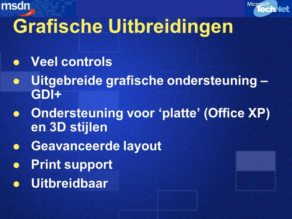 Grafische Uitbreidingen Veel controls Uitgebreide grafische ondersteuning – GDI+ Ondersteuning voor 'platte' (Office XP) en 3D stijlen Geavanceerde la