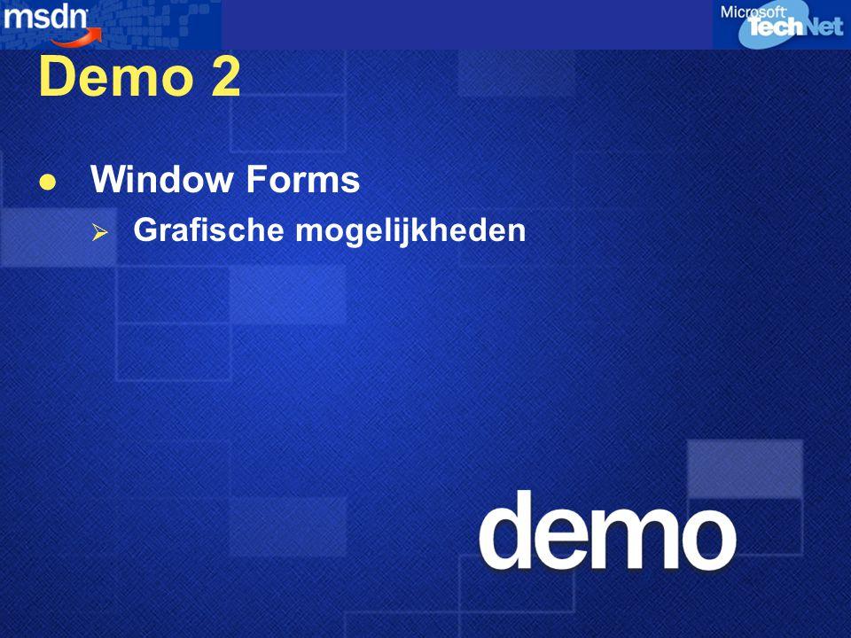 Demo 2 Window Forms  Grafische mogelijkheden