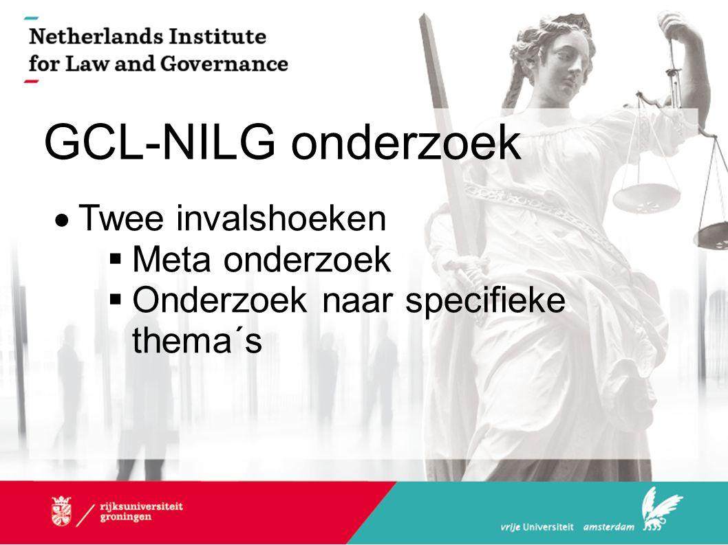 GCL-NILG onderzoek  Twee invalshoeken  Meta onderzoek  Onderzoek naar specifieke thema´s