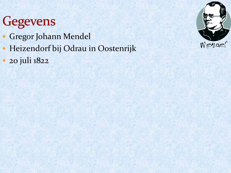 Gregor Johann Mendel Heizendorf bij Odrau in Oostenrijk 20 juli 1822