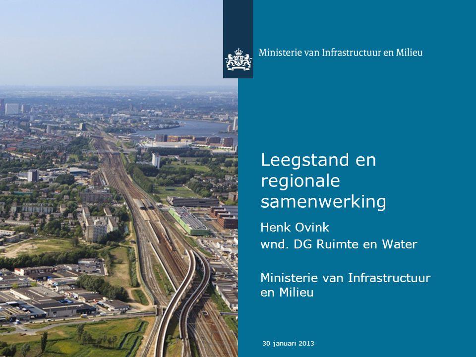 30 januari 2013 Leegstand en regionale samenwerking Henk Ovink wnd.