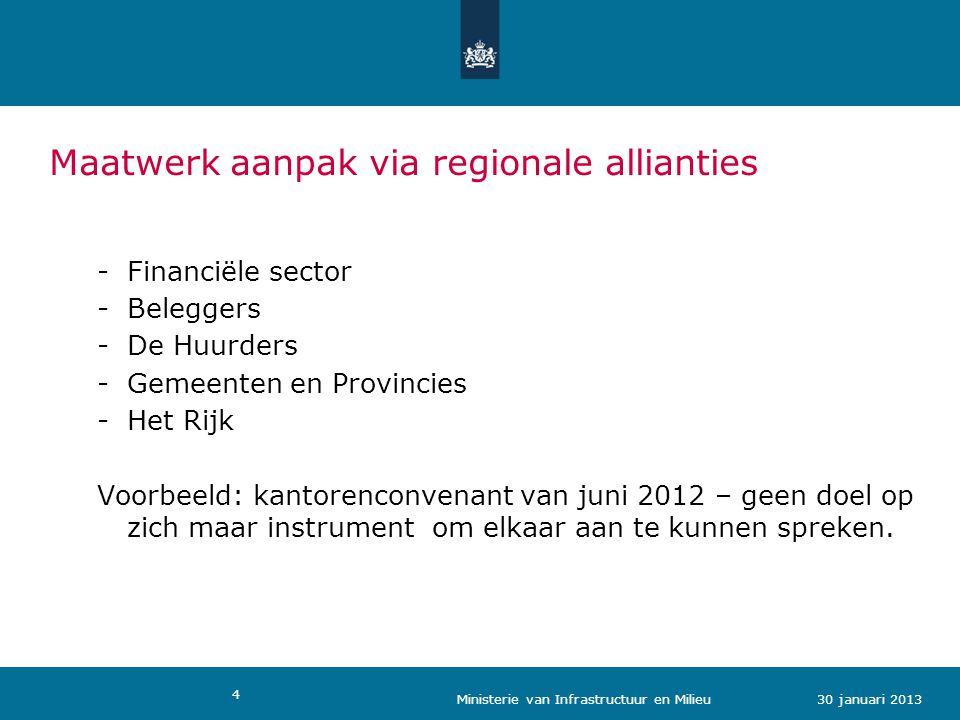 4 Maatwerk aanpak via regionale allianties -Financiële sector -Beleggers -De Huurders -Gemeenten en Provincies -Het Rijk Voorbeeld: kantorenconvenant van juni 2012 – geen doel op zich maar instrument om elkaar aan te kunnen spreken.