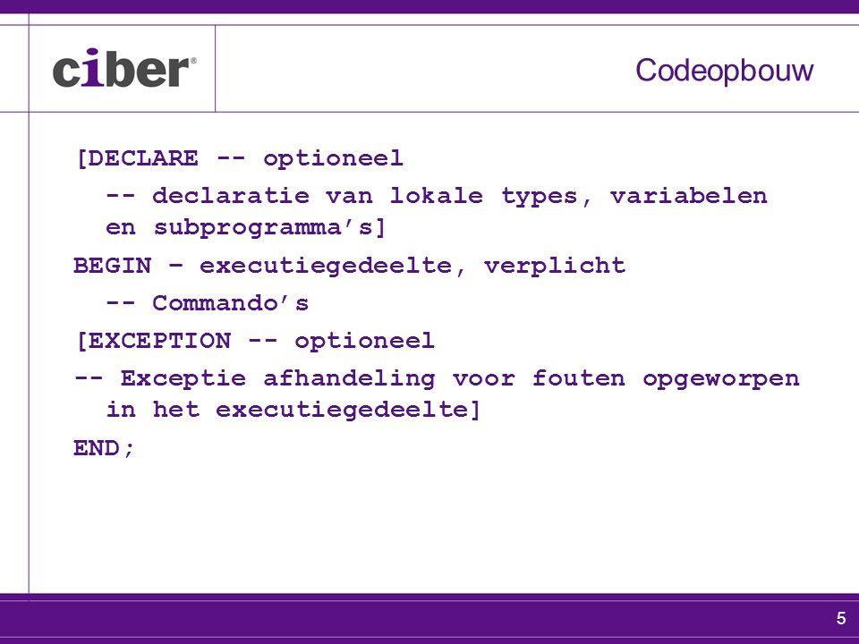 6 Diversen codeopbouw Alle namen van programma-eenheden, variabelen en types e.d.