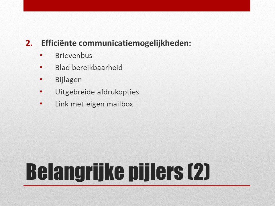 Belangrijke pijlers (2) 2.Efficiënte communicatiemogelijkheden: Brievenbus Blad bereikbaarheid Bijlagen Uitgebreide afdrukopties Link met eigen mailbo