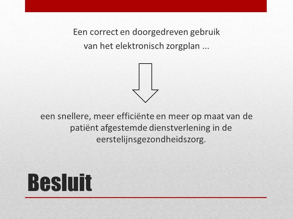Besluit Een correct en doorgedreven gebruik van het elektronisch zorgplan... een snellere, meer efficiënte en meer op maat van de patiënt afgestemde d