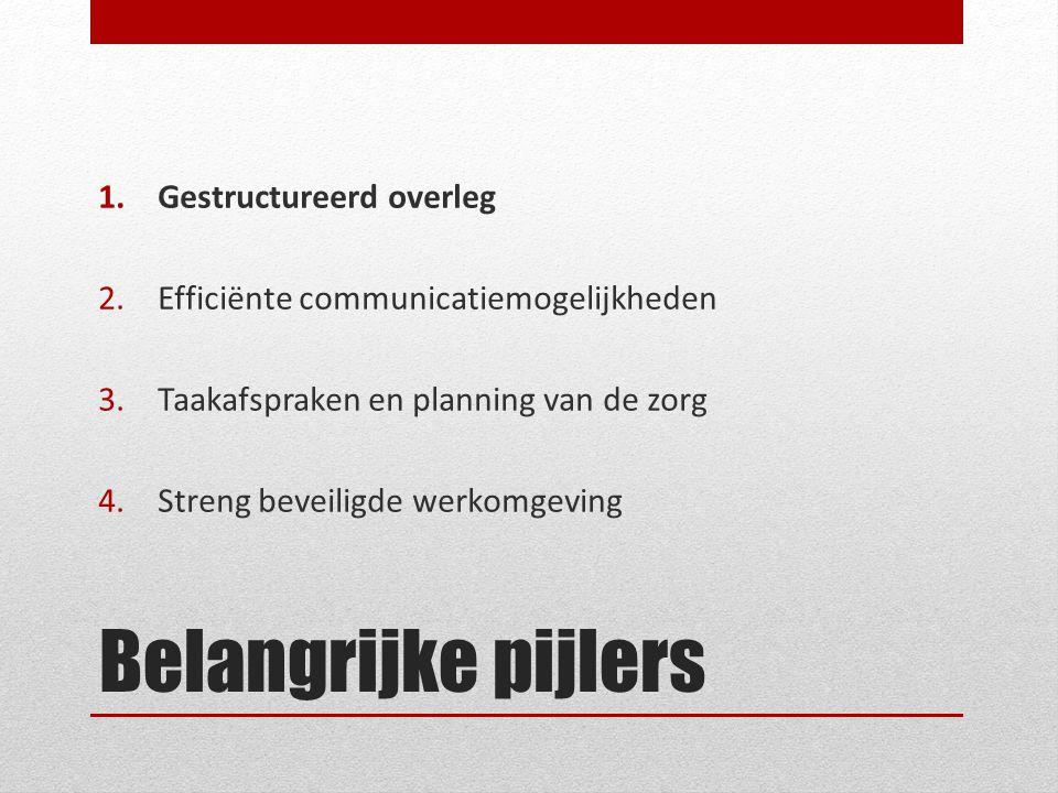 Belangrijke pijlers 1.Gestructureerd overleg 2.Efficiënte communicatiemogelijkheden 3.Taakafspraken en planning van de zorg 4.Streng beveiligde werkom