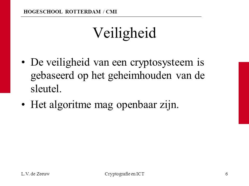HOGESCHOOL ROTTERDAM / CMI Veiligheid De veiligheid van een cryptosysteem is gebaseerd op het geheimhouden van de sleutel. Het algoritme mag openbaar