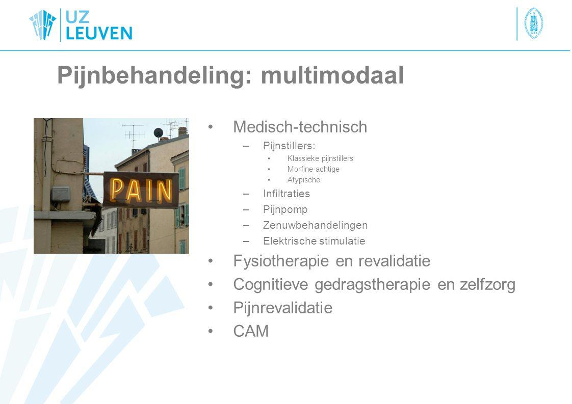 Pijnbehandeling: multimodaal Medisch-technisch –Pijnstillers: Klassieke pijnstillers Morfine-achtige Atypische –Infiltraties –Pijnpomp –Zenuwbehandeli