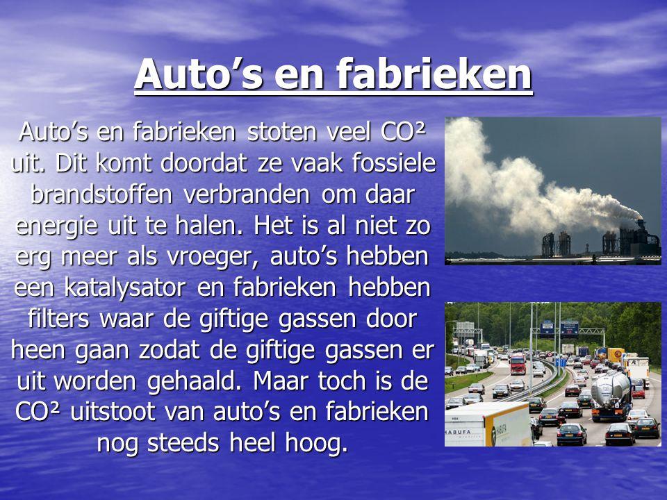 Auto's en fabrieken Auto's en fabrieken stoten veel CO² uit. Dit komt doordat ze vaak fossiele brandstoffen verbranden om daar energie uit te halen. H