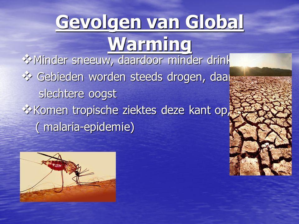 Gevolgen van Global Warming  Minder sneeuw, daardoor minder drinkwater  Gebieden worden steeds drogen, daardoor slechtere oogst slechtere oogst  Ko