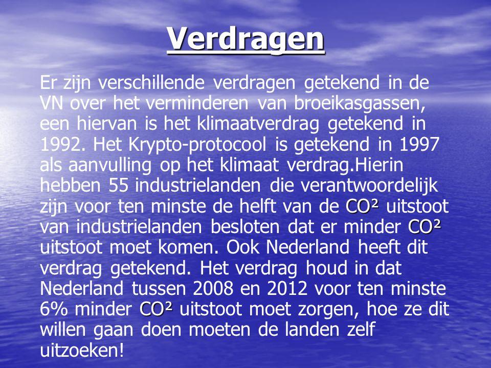 Verdragen CO² CO² CO² Er zijn verschillende verdragen getekend in de VN over het verminderen van broeikasgassen, een hiervan is het klimaatverdrag get