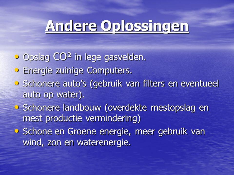 Andere Oplossingen Opslag CO² in lege gasvelden. Opslag CO² in lege gasvelden. Energie zuinige Computers. Energie zuinige Computers. Schonere auto's (