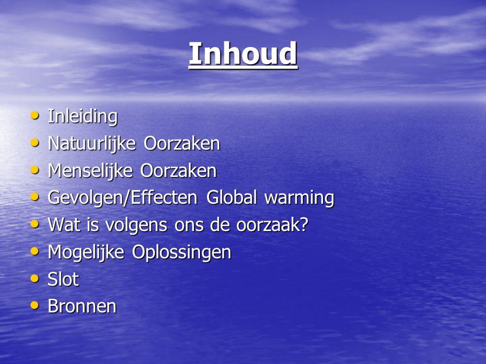 Inhoud Inleiding Inleiding Natuurlijke Oorzaken Natuurlijke Oorzaken Menselijke Oorzaken Menselijke Oorzaken Gevolgen/Effecten Global warming Gevolgen