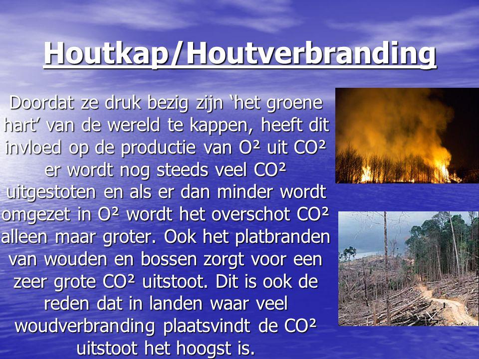 Houtkap/Houtverbranding Doordat ze druk bezig zijn 'het groene hart' van de wereld te kappen, heeft dit invloed op de productie van O² uit CO² er word