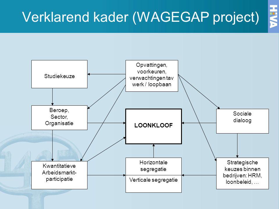 Verklarend kader (WAGEGAP project) Studiekeuze Opvattingen, voorkeuren, verwachtingen tav werk / loopbaan Beroep, Sector, Organisatie LOONKLOOF Social