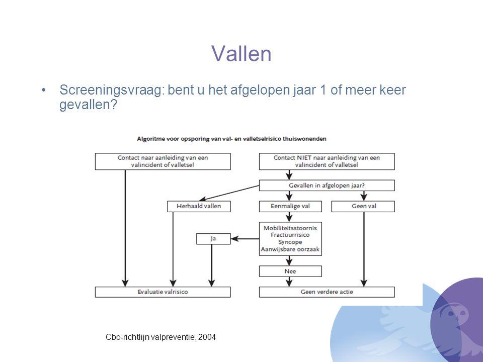 Vallen Screeningsvraag: bent u het afgelopen jaar 1 of meer keer gevallen? Cbo-richtlijn valpreventie, 2004