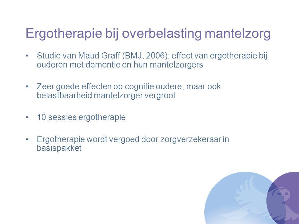 Ergotherapie bij overbelasting mantelzorg Studie van Maud Graff (BMJ, 2006): effect van ergotherapie bij ouderen met dementie en hun mantelzorgers Zee