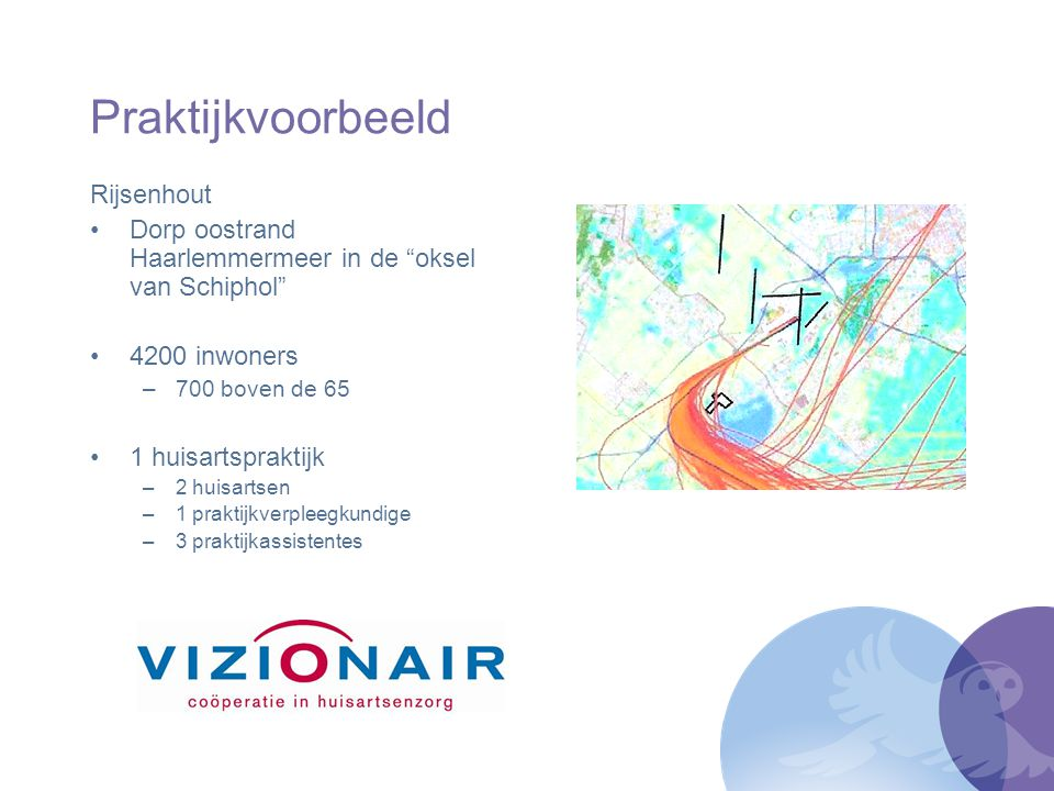 """Praktijkvoorbeeld Rijsenhout Dorp oostrand Haarlemmermeer in de """"oksel van Schiphol"""" 4200 inwoners –700 boven de 65 1 huisartspraktijk –2 huisartsen –"""
