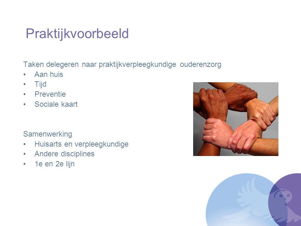 Praktijkvoorbeeld Taken delegeren naar praktijkverpleegkundige ouderenzorg Aan huis Tijd Preventie Sociale kaart Samenwerking Huisarts en verpleegkund