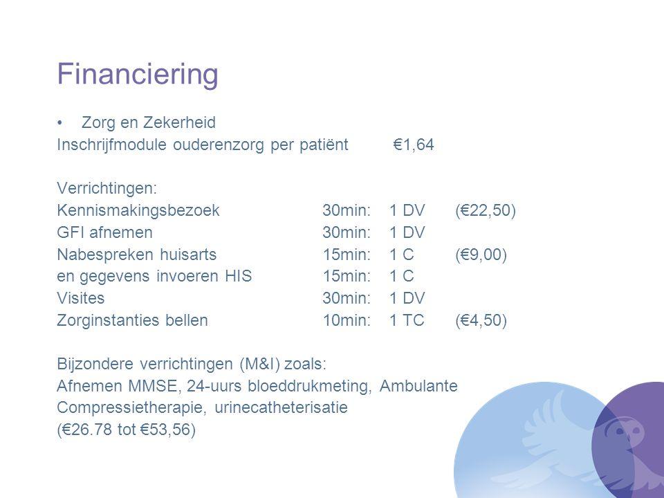 Financiering Zorg en Zekerheid Inschrijfmodule ouderenzorg per patiënt €1,64 Verrichtingen: Kennismakingsbezoek30min:1 DV (€22,50) GFI afnemen30min:1