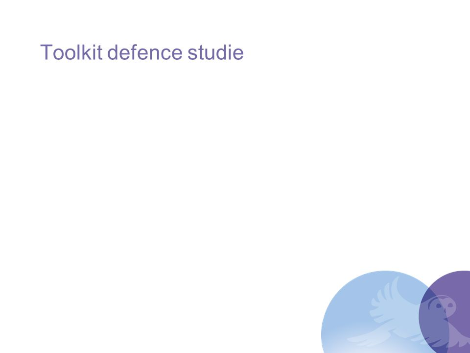 Toolkit defence studie