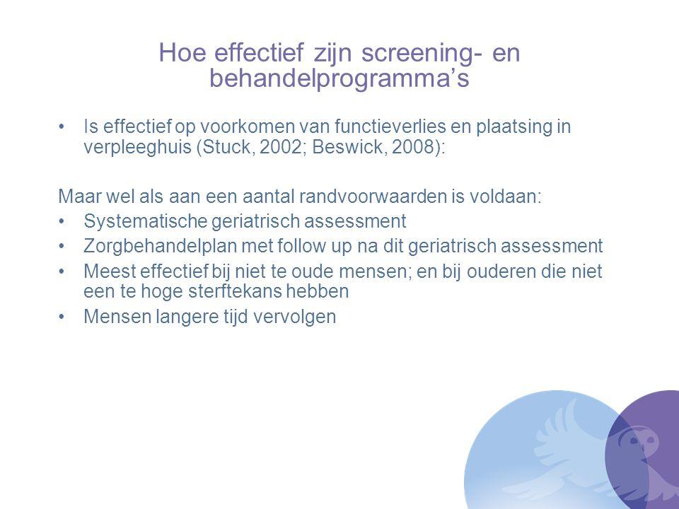 Hoe effectief zijn screening- en behandelprogramma's Is effectief op voorkomen van functieverlies en plaatsing in verpleeghuis (Stuck, 2002; Beswick,