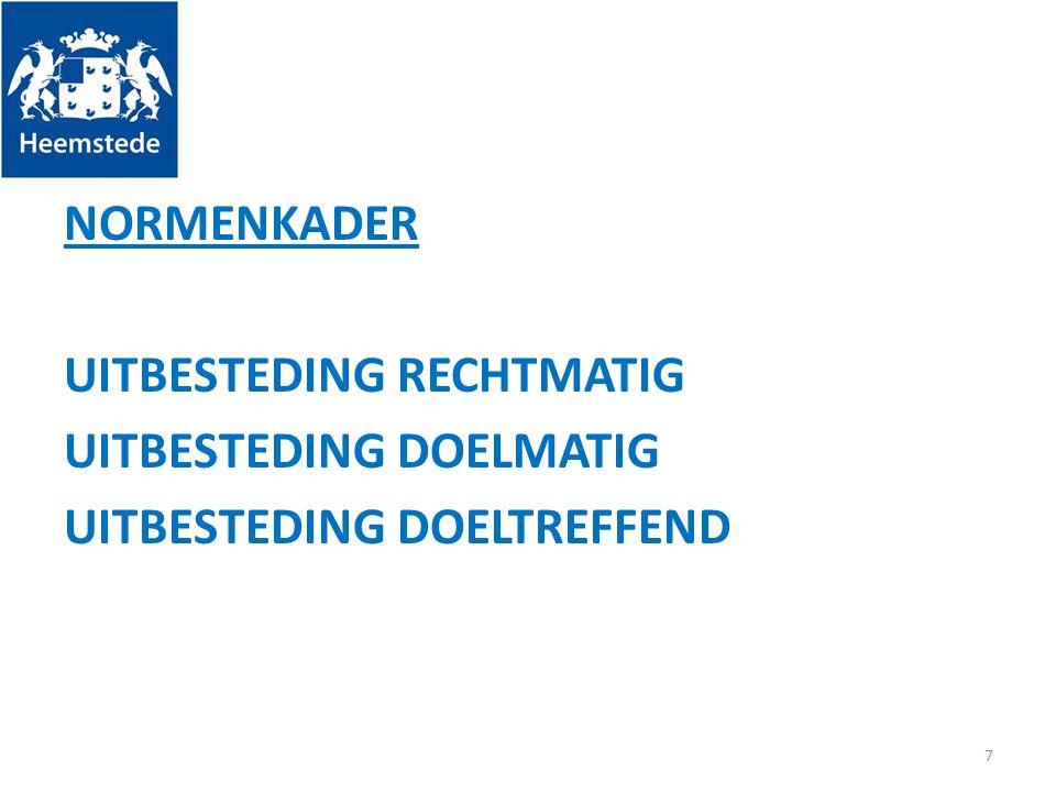NORMENKADER UITBESTEDING RECHTMATIG UITBESTEDING DOELMATIG UITBESTEDING DOELTREFFEND 7