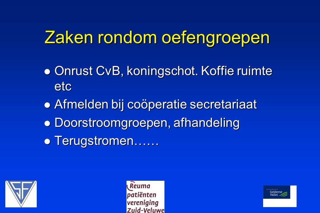 Zaken rondom oefengroepen Onrust CvB, koningschot.