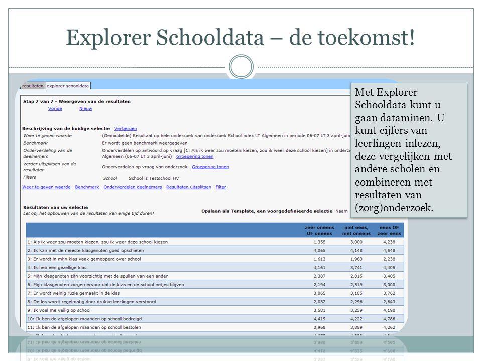 Explorer Schooldata – de toekomst. Met Explorer Schooldata kunt u gaan dataminen.
