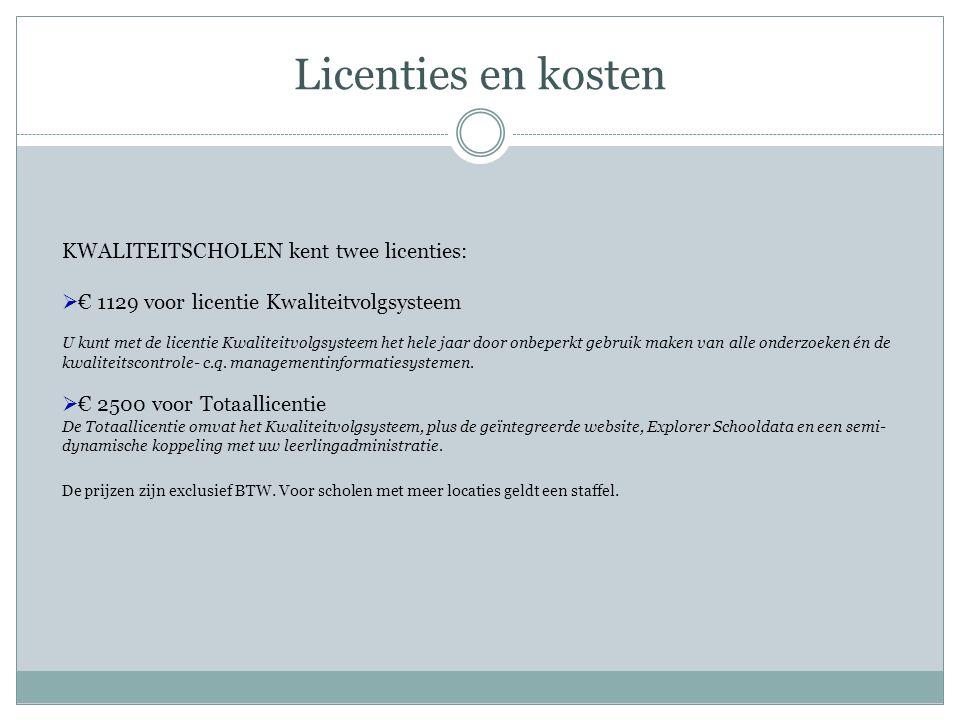 Licenties en kosten KWALITEITSCHOLEN kent twee licenties:  € 1129 voor licentie Kwaliteitvolgsysteem U kunt met de licentie Kwaliteitvolgsysteem het hele jaar door onbeperkt gebruik maken van alle onderzoeken én de kwaliteitscontrole- c.q.