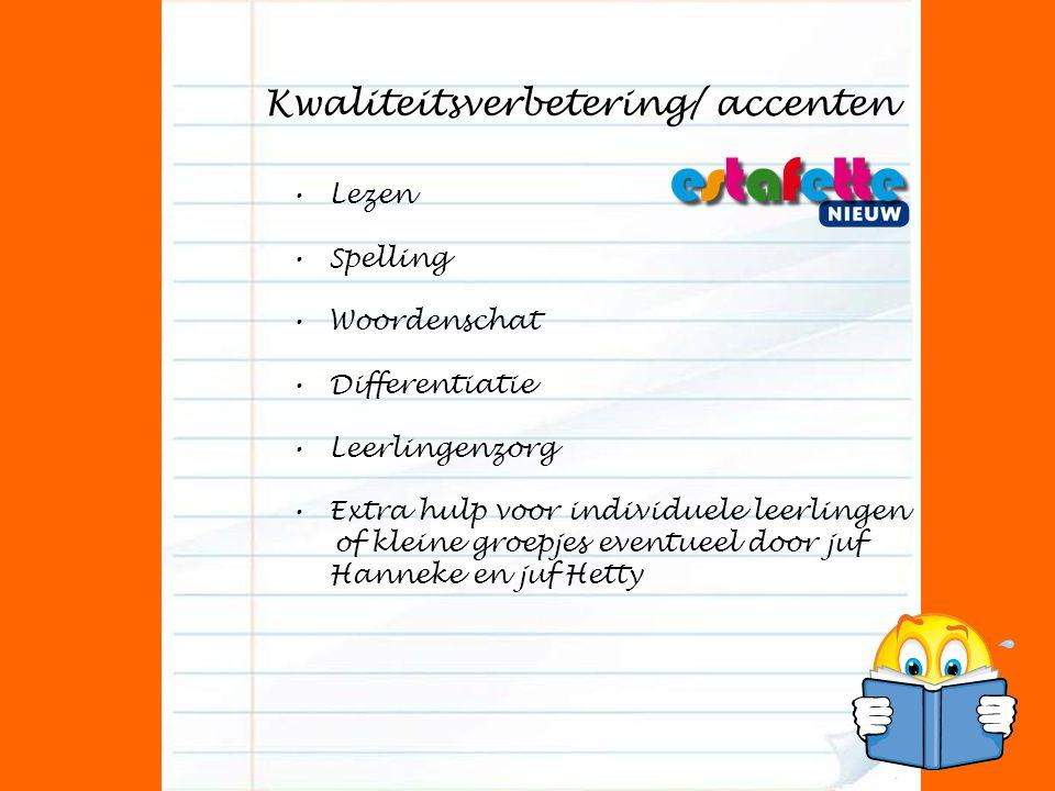 Kwaliteitsverbetering/ accenten Lezen Spelling Woordenschat Differentiatie Leerlingenzorg Extra hulp voor individuele leerlingen of kleine groepjes ev