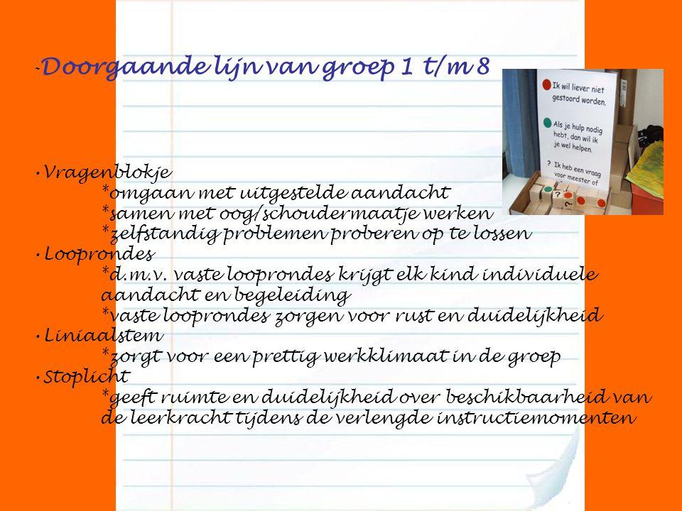 - Doorgaande lijn van groep 1 t/m 8 Vragenblokje *omgaan met uitgestelde aandacht *samen met oog/schoudermaatje werken *zelfstandig problemen proberen