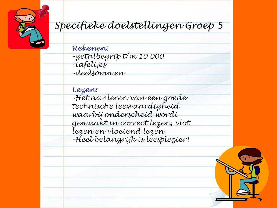 Specifieke doelstellingen Groep 5 Rekenen: -getalbegrip t/m 10 000 -tafeltjes -deelsommen Lezen: -Het aanleren van een goede technische leesvaardighei