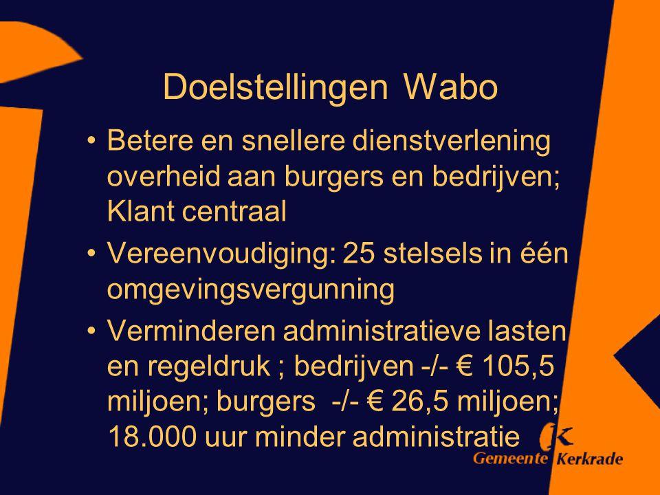 WABO In werking per 1 oktober 2010 Vooral procedurewet Meer bouwen zonder vergunning