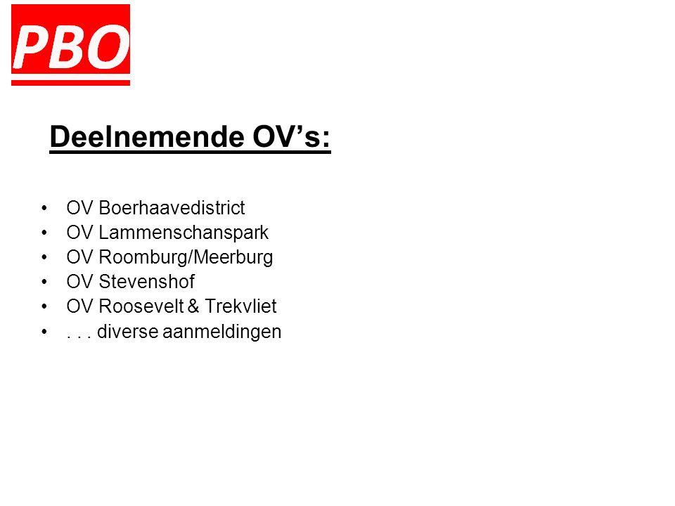 Deelnemende OV's: OV Boerhaavedistrict OV Lammenschanspark OV Roomburg/Meerburg OV Stevenshof OV Roosevelt & Trekvliet...