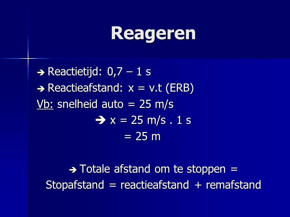 Reageren  Reactietijd: 0,7 – 1 s  Reactieafstand: x = v.t (ERB) Vb: snelheid auto = 25 m/s  x = 25 m/s. 1 s = 25 m  Totale afstand om te stoppen =