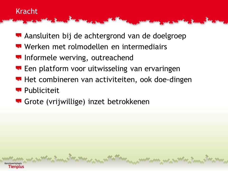 Kwetsbaarheid Grote (vrijwillige) inzet betrokkenen, naast regulier werk Tijdelijkheid Los van bestaande structuren