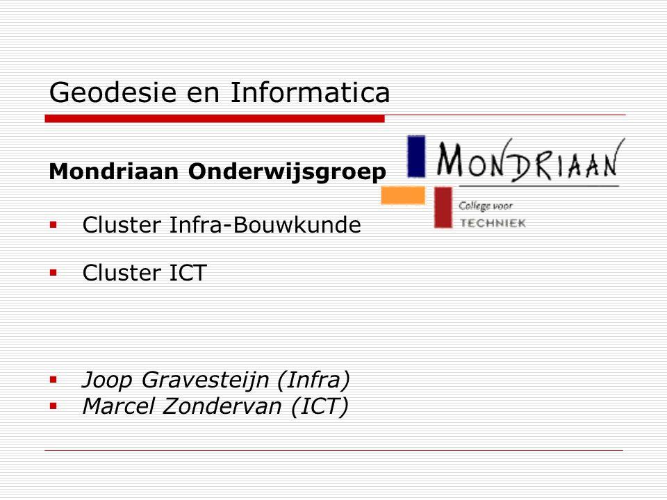 Geodesie en Informatica Mondriaan Onderwijsgroep  Cluster Infra-Bouwkunde  Cluster ICT  Joop Gravesteijn (Infra)  Marcel Zondervan (ICT)
