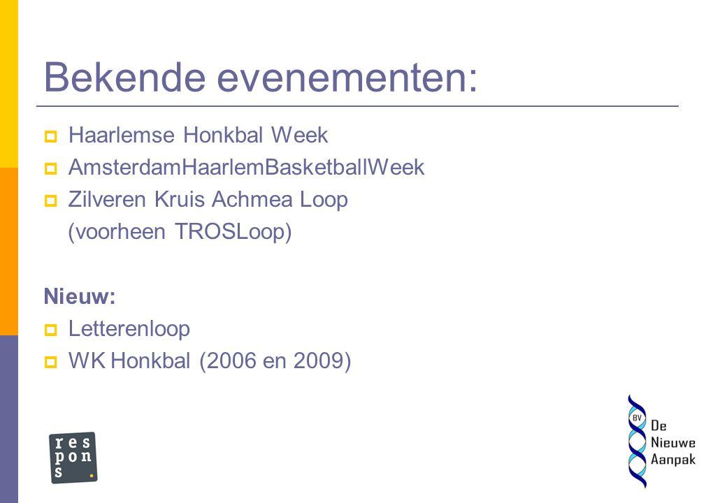 Haarlem zet in op: Honkbal – Basketbal –Hardlopen Judo – Badminton – Korfbal Belangrijk: Gaat niet alleen om sport, maar Haarlem zoekt de thematische verbindingen op, vb.Letterenloop (sport/cultuur)