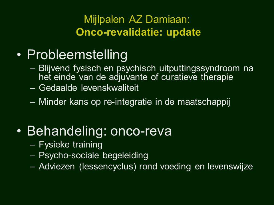 Mijlpalen AZ Damiaan: Onco-revalidatie: update Probleemstelling –Blijvend fysisch en psychisch uitputtingssyndroom na het einde van de adjuvante of cu