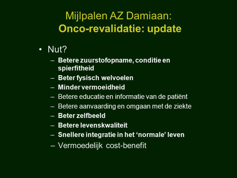 Mijlpalen AZ Damiaan: Onco-revalidatie: update Nut? –Betere zuurstofopname, conditie en spierfitheid –Beter fysisch welvoelen –Minder vermoeidheid –Be