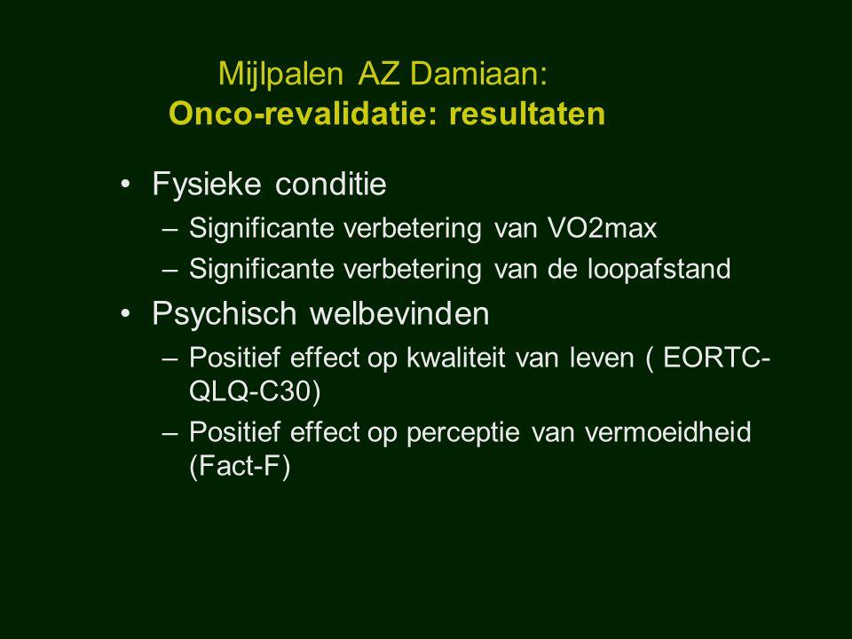Mijlpalen AZ Damiaan: Onco-revalidatie: resultaten Fysieke conditie –Significante verbetering van VO2max –Significante verbetering van de loopafstand